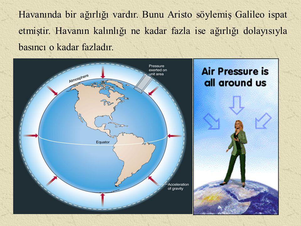 Yükseklere çıkıldıkça hava basıncı azalır.Ancak bu azalma orantılı değildir.