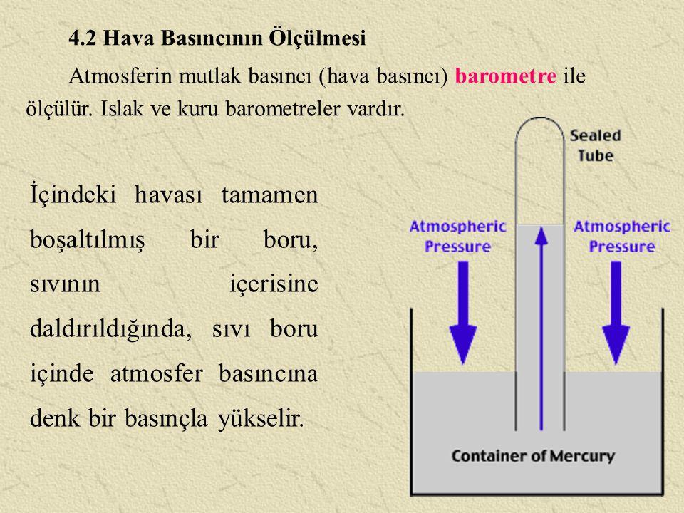 4.2 Hava Basıncının Ölçülmesi Atmosferin mutlak basıncı (hava basıncı) barometre ile ölçülür. Islak ve kuru barometreler vardır. İçindeki havası tamam