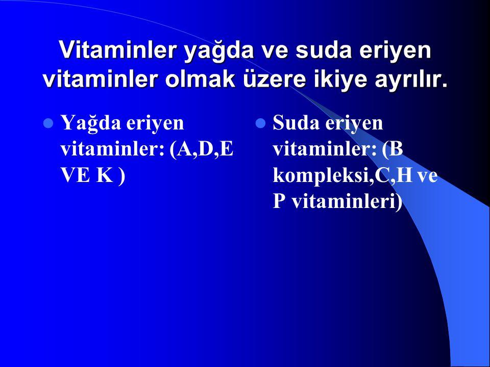 Vitaminler yağda ve suda eriyen vitaminler olmak üzere ikiye ayrılır. Yağda eriyen vitaminler: (A,D,E VE K ) Suda eriyen vitaminler: (B kompleksi,C,H