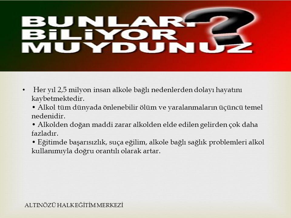  Dünya sağlık örgütünün aralarında türkiyenin de bulunduğu 30 ülkede yaptığı araştırmaya göre ALTINÖZÜ HALK EĞİTİM MERKEZİ