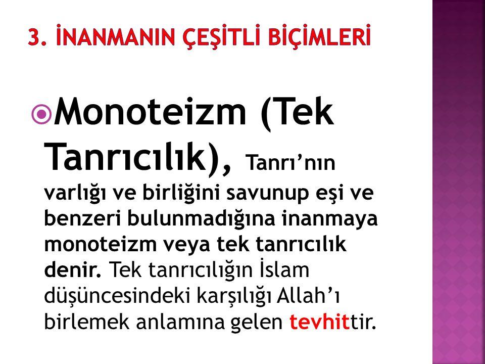  Monoteizm (Tek Tanrıcılık), Tanrı'nın varlığı ve birliğini savunup eşi ve benzeri bulunmadığına inanmaya monoteizm veya tek tanrıcılık denir. Tek ta