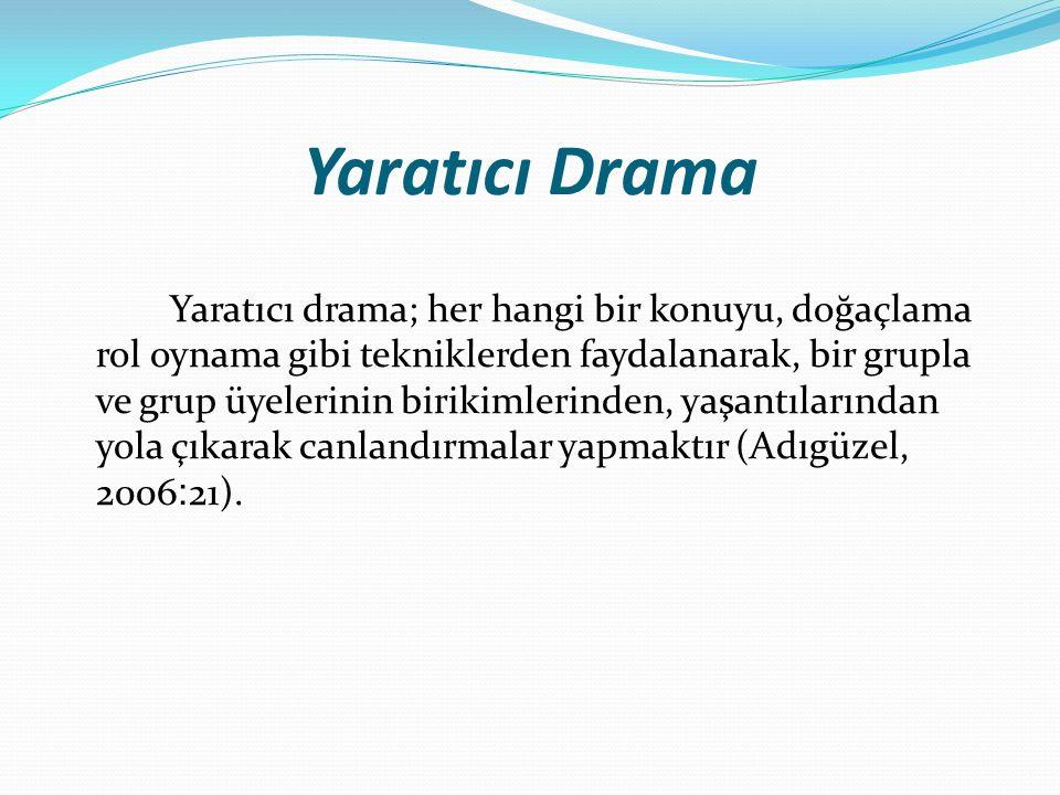 Yaratıcı Drama Yaratıcı drama; her hangi bir konuyu, doğaçlama rol oynama gibi tekniklerden faydalanarak, bir grupla ve grup üyelerinin birikimlerinde