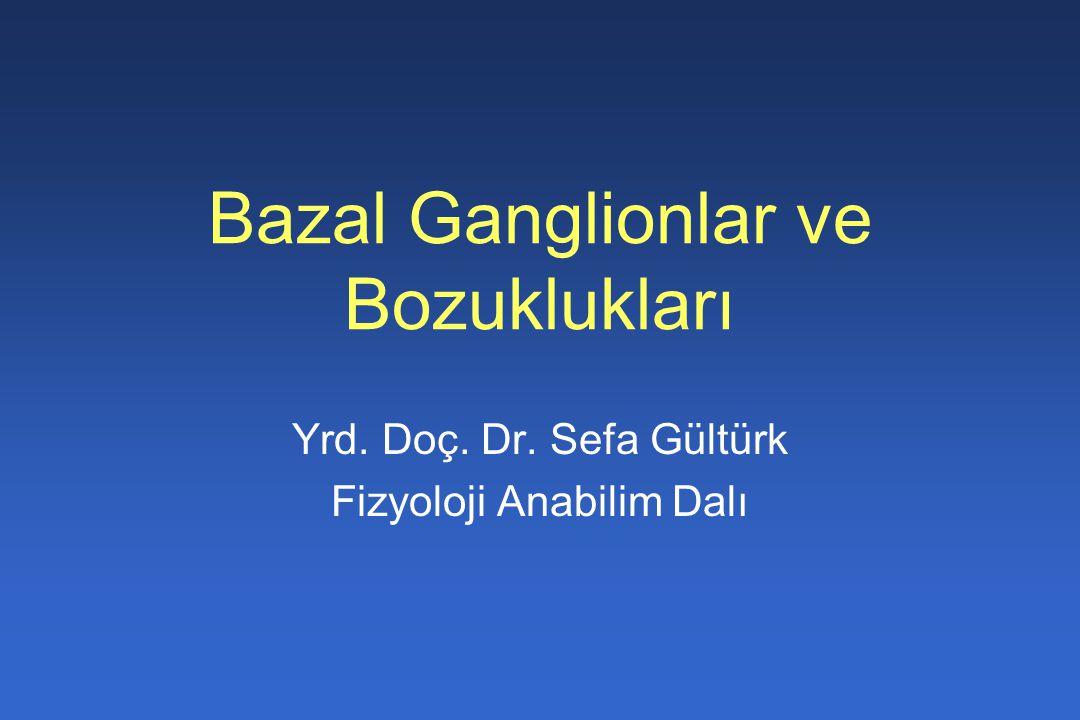Bazal Ganglionlar ve Bozuklukları Yrd. Doç. Dr. Sefa Gültürk Fizyoloji Anabilim Dalı