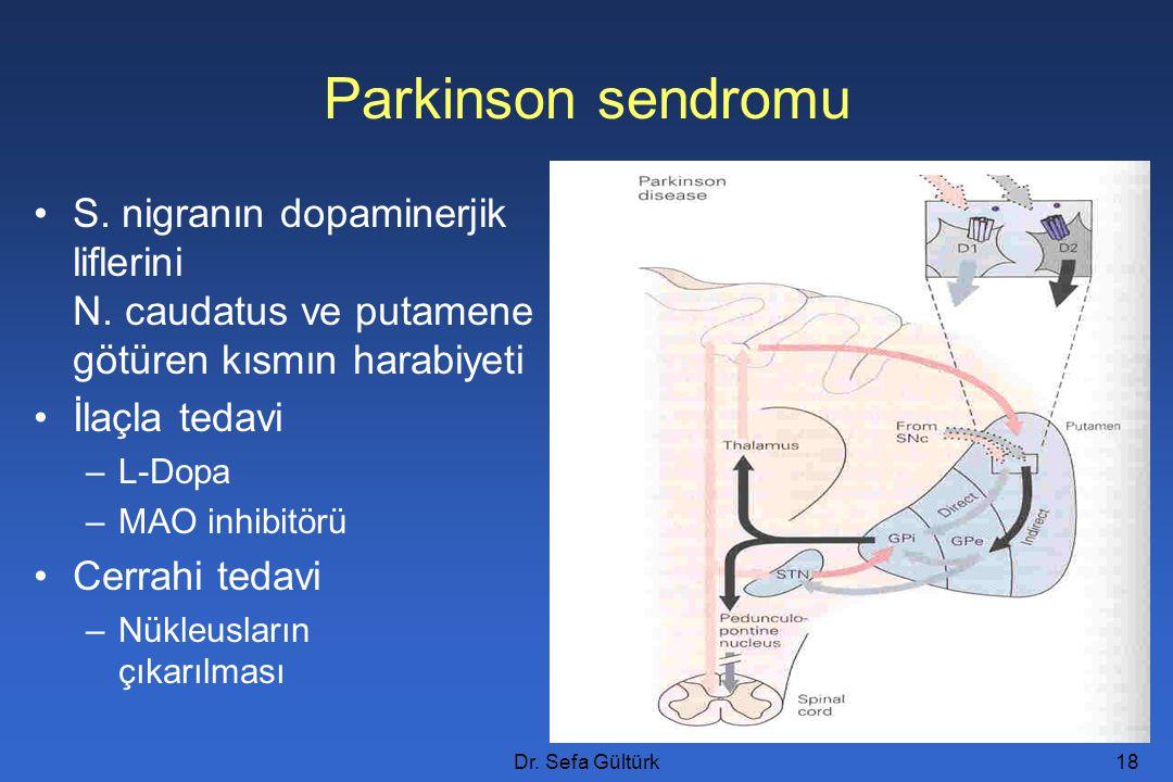 Dr. Sefa Gültürk18 S. nigranın dopaminerjik liflerini N. caudatus ve putamene götüren kısmın harabiyeti İlaçla tedavi –L-Dopa –MAO inhibitörü Cerrahi