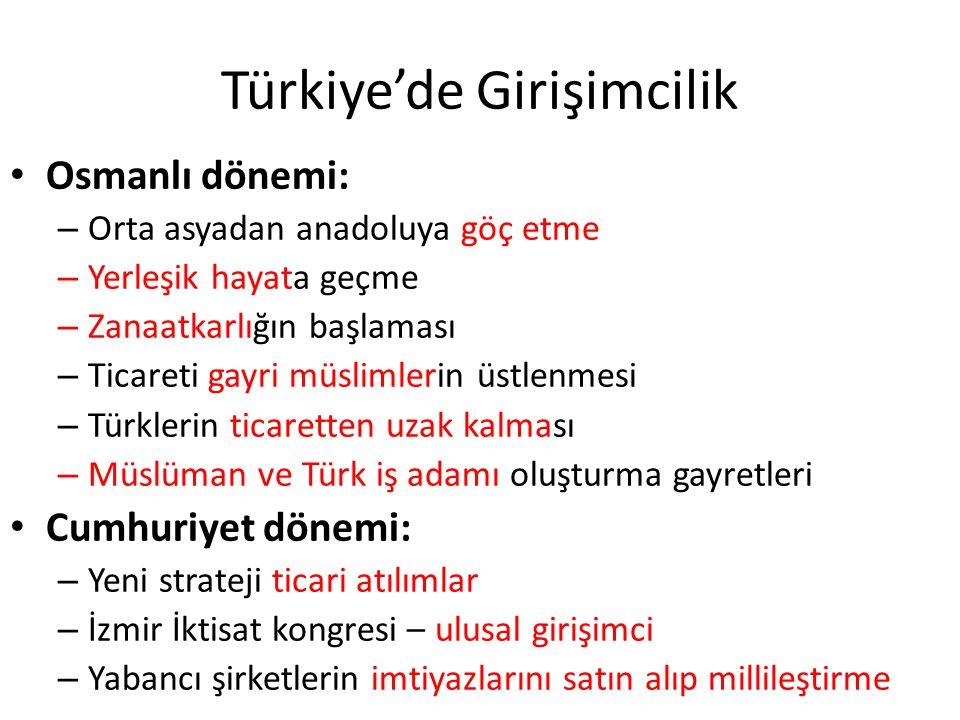 Türkiye'de Girişimcilik Osmanlı dönemi: – Orta asyadan anadoluya göç etme – Yerleşik hayata geçme – Zanaatkarlığın başlaması – Ticareti gayri müslimle