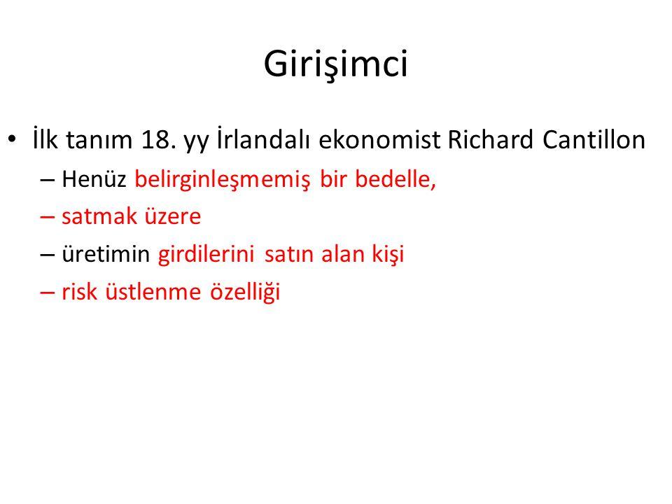 Girişimci İlk tanım 18. yy İrlandalı ekonomist Richard Cantillon – Henüz belirginleşmemiş bir bedelle, – satmak üzere – üretimin girdilerini satın ala