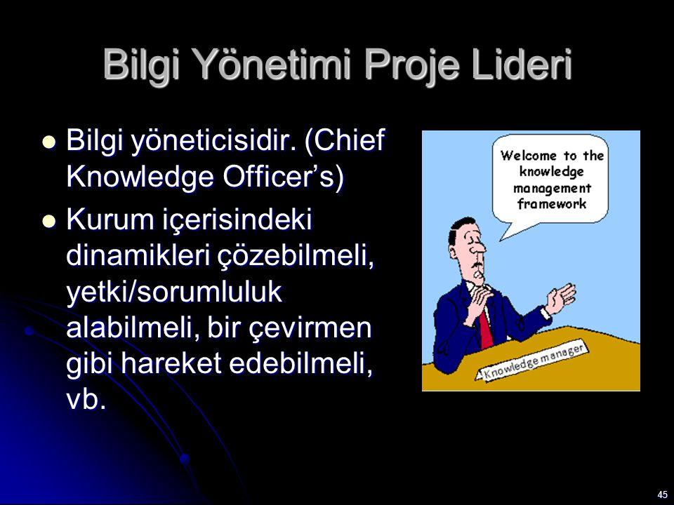 45 Bilgi Yönetimi Proje Lideri Bilgi yöneticisidir. (Chief Knowledge Officer's) Bilgi yöneticisidir. (Chief Knowledge Officer's) Kurum içerisindeki di