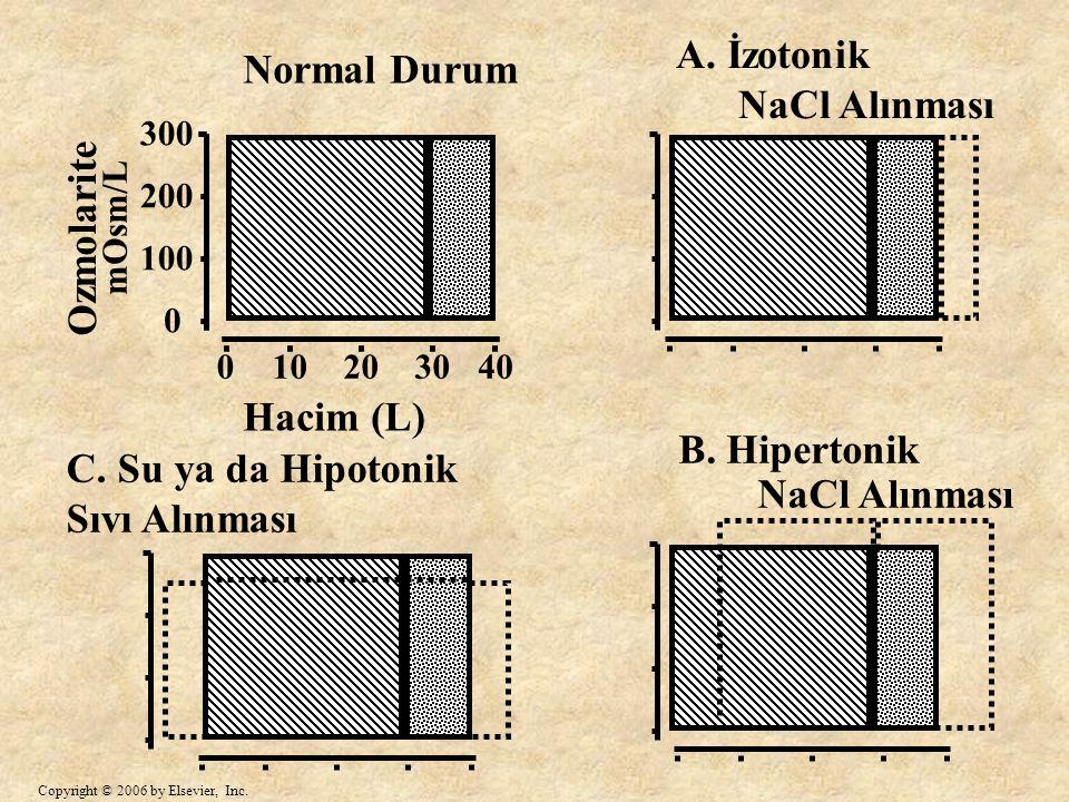 300 200 100 0 Ozmolarite mOsm/L Normal Durum A. İzotonik NaCl Alınması B. Hipertonik NaCl Alınması C. Su ya da Hipotonik Sıvı Alınması 010203040 Hacim