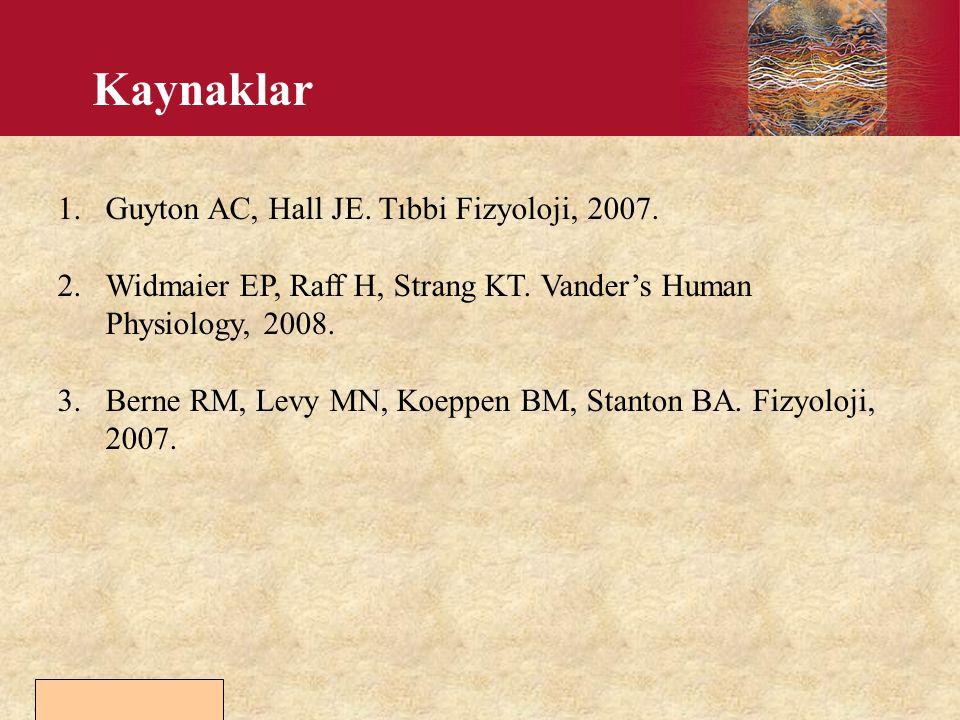Copyright © 2006 by Elsevier, Inc. Kaynaklar 1.Guyton AC, Hall JE. Tıbbi Fizyoloji, 2007. 2.Widmaier EP, Raff H, Strang KT. Vander's Human Physiology,