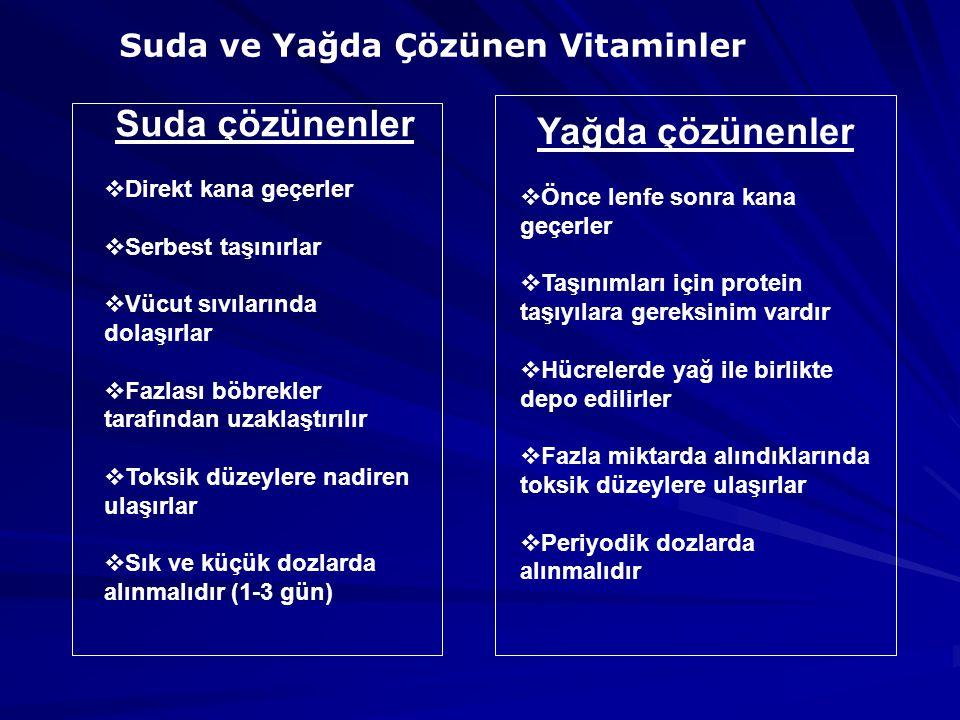 Suda ve Yağda Çözünen Vitaminler Suda çözünenler  Direkt kana geçerler  Serbest taşınırlar  Vücut sıvılarında dolaşırlar  Fazlası böbrekler tarafından uzaklaştırılır  Toksik düzeylere nadiren ulaşırlar  Sık ve küçük dozlarda alınmalıdır (1-3 gün) Yağda çözünenler  Önce lenfe sonra kana geçerler  Taşınımları için protein taşıyılara gereksinim vardır  Hücrelerde yağ ile birlikte depo edilirler  Fazla miktarda alındıklarında toksik düzeylere ulaşırlar  Periyodik dozlarda alınmalıdır
