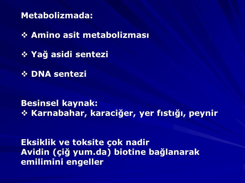 Metabolizmada:  Amino asit metabolizması  Yağ asidi sentezi  DNA sentezi Besinsel kaynak:  Karnabahar, karaciğer, yer fıstığı, peynir Eksiklik ve toksite çok nadir Avidin (çiğ yum.da) biotine bağlanarak emilimini engeller