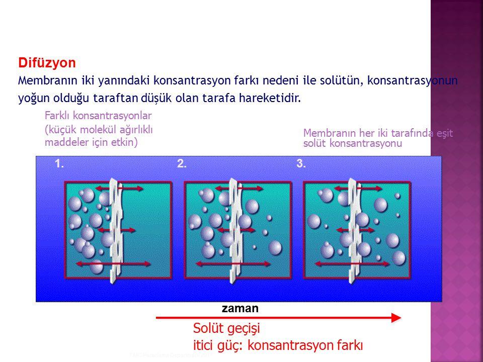 FMC Pazarlama Departmanı 2011 Farklı konsantrasyonlar (küçük molekül ağırlıklı maddeler için etkin) Membranın her iki tarafında eşit solüt konsantrasy