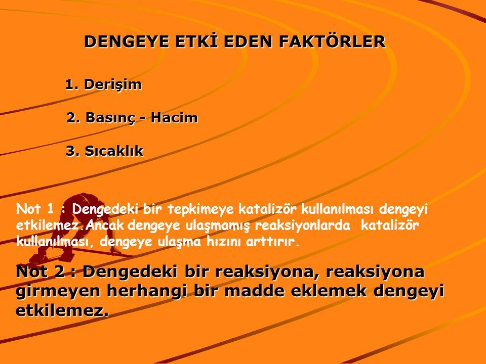 DENGEYE ETKİ EDEN FAKTÖRLER 1.Derişim 2. Basınç - Hacim 3.