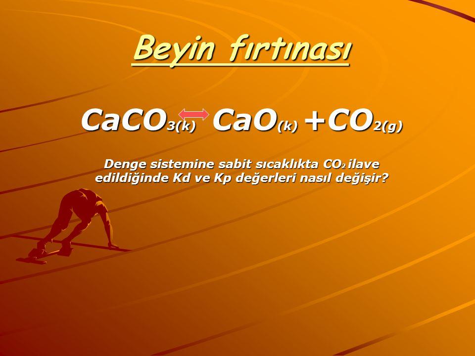 Beyin fırtınası CaCO 3(k) CaO (k) +CO 2(g) Denge sistemine sabit sıcaklıkta CO 2 ilave edildiğinde Kd ve Kp değerleri nasıl değişir?