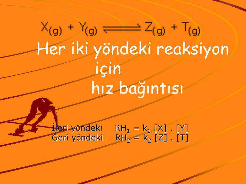 Her iki yöndeki reaksiyon için hız bağıntısı İleri y ö ndeki RH 1 = k 1 [X]. [Y] Geri y ö ndeki RH 2 = k 2 [Z]. [T]