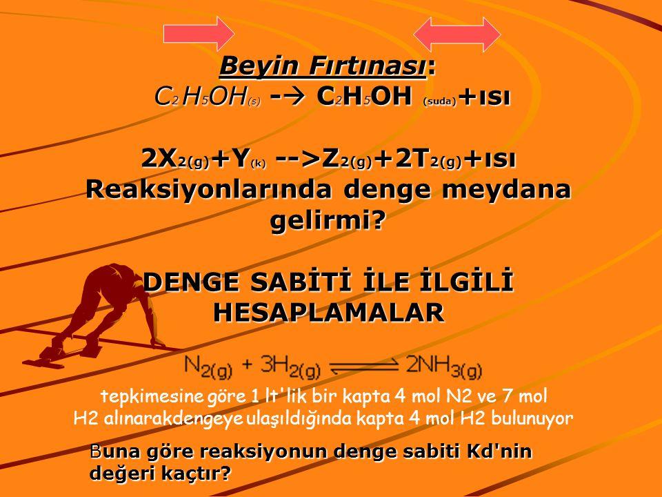 Beyin Fırtınası: C 2 H 5 OH (s) -  C 2 H 5 OH (suda) +ısı C 2 H 5 OH (s) -  C 2 H 5 OH (suda) +ısı 2X 2(g) +Y (k) -->Z 2(g) +2T 2(g) +ısı Reaksiyonlarında denge meydana gelirmi.
