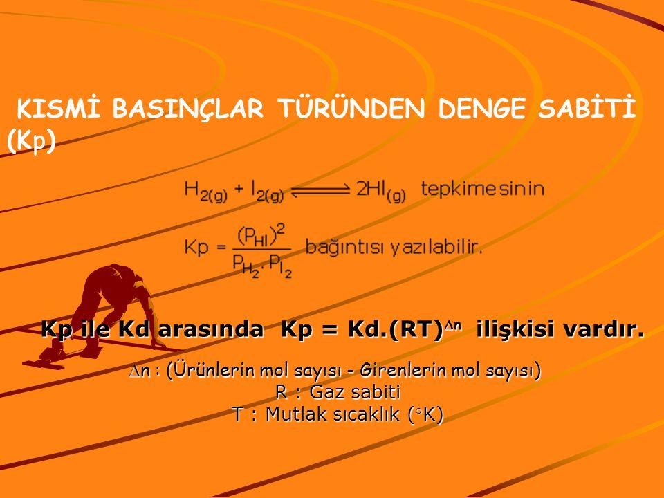 KISMİ BASINÇLAR TÜRÜNDEN DENGE SABİTİ (Kp) Kp ile Kd arasında Kp = Kd.(RT)  n ilişkisi vardır.  n : (Ürünlerin mol sayısı - Girenlerin mol sayısı) R