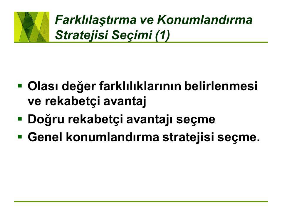 Farklılaştırma ve Konumlandırma Stratejisi Seçimi (1)  Olası değer farklılıklarının belirlenmesi ve rekabetçi avantaj  Doğru rekabetçi avantajı seçme  Genel konumlandırma stratejisi seçme.