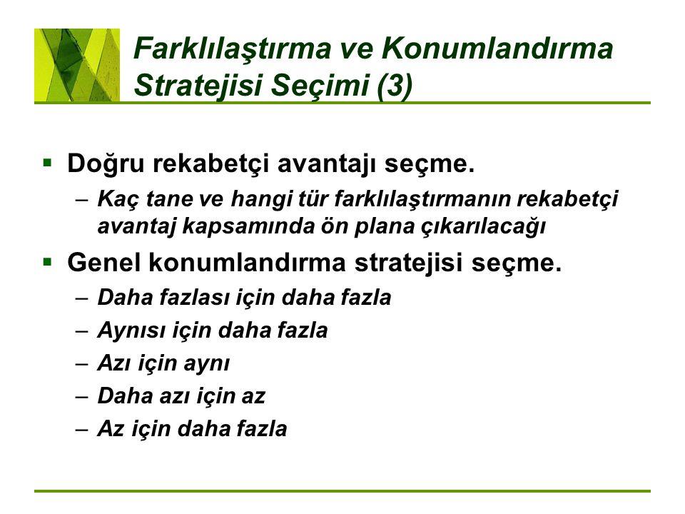 Farklılaştırma ve Konumlandırma Stratejisi Seçimi (3)  Doğru rekabetçi avantajı seçme.