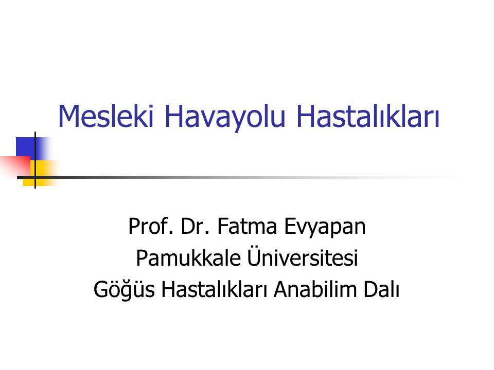 Mesleki Havayolu Hastalıkları Prof. Dr. Fatma Evyapan Pamukkale Üniversitesi Göğüs Hastalıkları Anabilim Dalı
