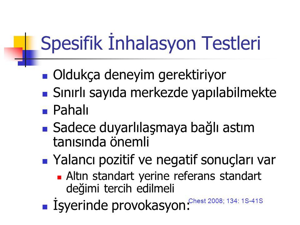 Spesifik İnhalasyon Testleri Oldukça deneyim gerektiriyor Sınırlı sayıda merkezde yapılabilmekte Pahalı Sadece duyarlılaşmaya bağlı astım tanısında önemli Yalancı pozitif ve negatif sonuçları var Altın standart yerine referans standart değimi tercih edilmeli İşyerinde provokasyon: Chest 2008; 134: 1S-41S