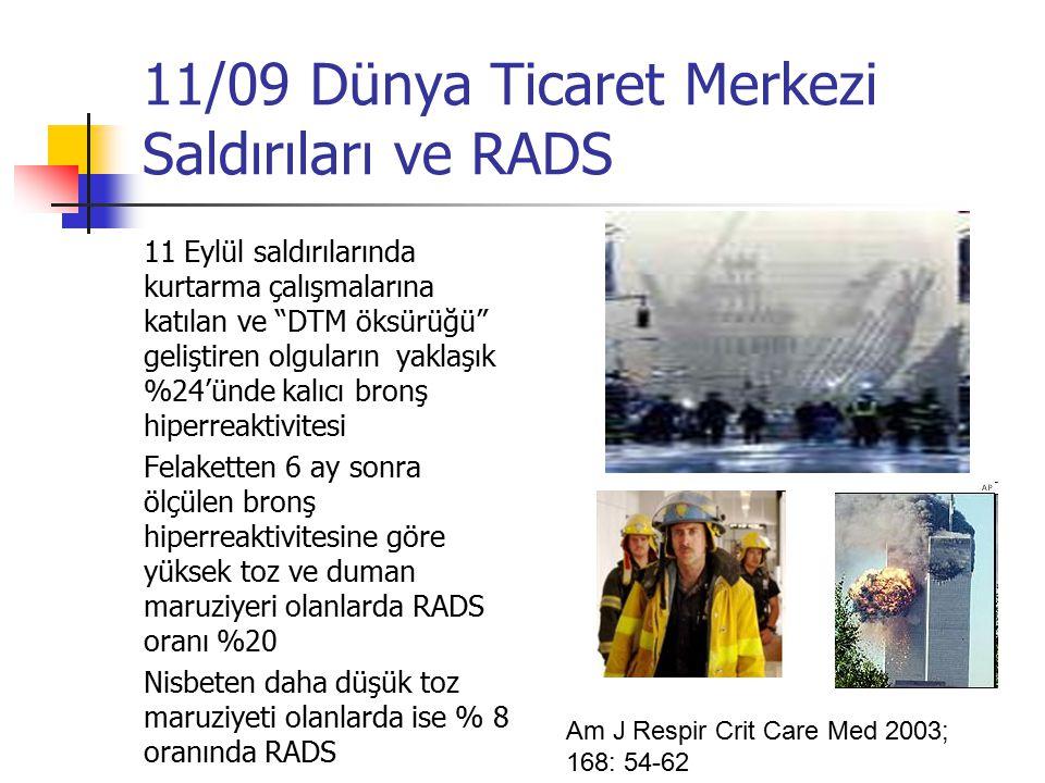 11/09 Dünya Ticaret Merkezi Saldırıları ve RADS 11 Eylül saldırılarında kurtarma çalışmalarına katılan ve DTM öksürüğü geliştiren olguların yaklaşık %24'ünde kalıcı bronş hiperreaktivitesi Felaketten 6 ay sonra ölçülen bronş hiperreaktivitesine göre yüksek toz ve duman maruziyeri olanlarda RADS oranı %20 Nisbeten daha düşük toz maruziyeti olanlarda ise % 8 oranında RADS Am J Respir Crit Care Med 2003; 168: 54-62