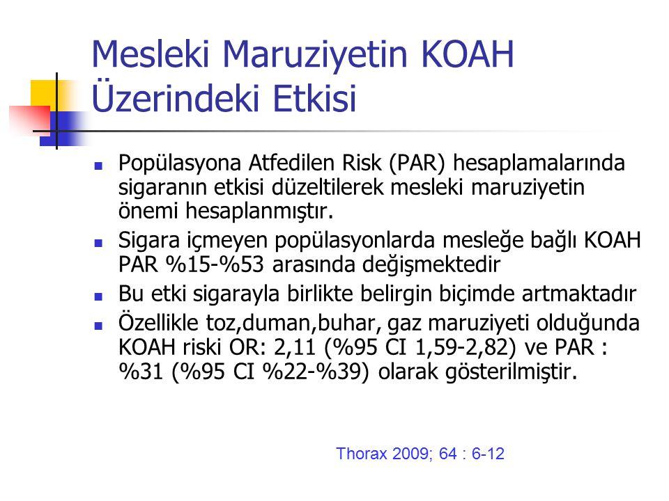 Mesleki Maruziyetin KOAH Üzerindeki Etkisi Popülasyona Atfedilen Risk (PAR) hesaplamalarında sigaranın etkisi düzeltilerek mesleki maruziyetin önemi hesaplanmıştır.