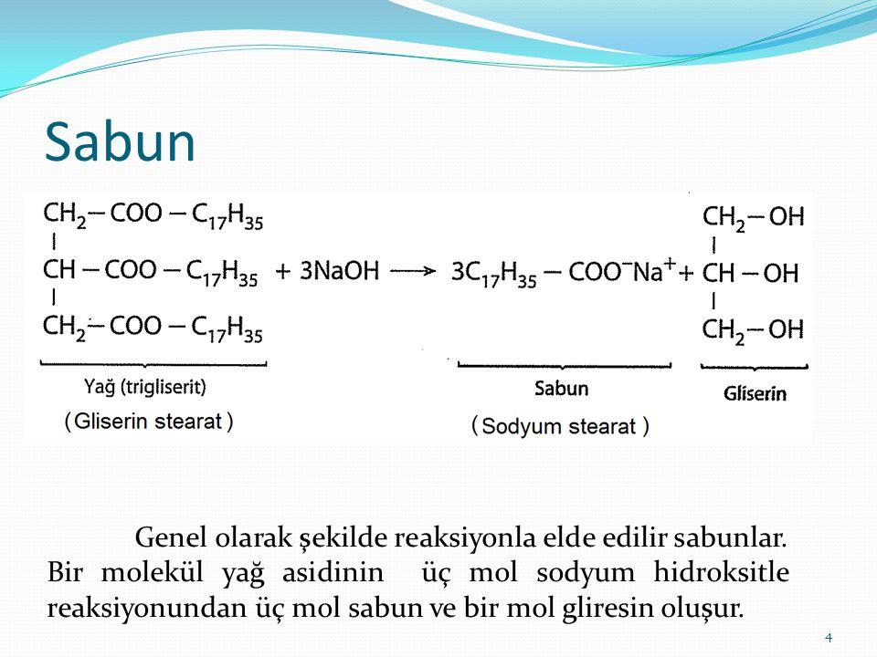Sabun 4 Genel olarak şekilde reaksiyonla elde edilir sabunlar. Bir molekül yağ asidinin üç mol sodyum hidroksitle reaksiyonundan üç mol sabun ve bir m