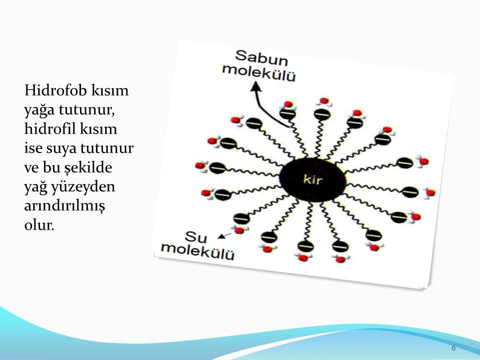 Hidrofob kısım yağa tutunur, hidrofil kısım ise suya tutunur ve bu şekilde yağ yüzeyden arındırılmış olur. 6