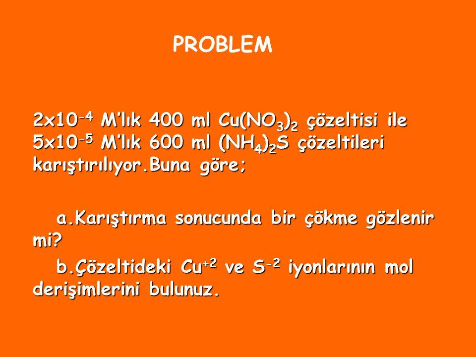 Q i = K ç ise denge kurulmuş demektir.Çözelti doygundur.Çözünme ve çökelme hızları eşittir. Q i K ç ise iyon derişimleri denge derişimlerinden büyük o