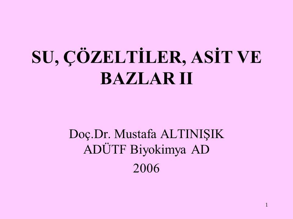 1 SU, ÇÖZELTİLER, ASİT VE BAZLAR II Doç.Dr. Mustafa ALTINIŞIK ADÜTF Biyokimya AD 2006