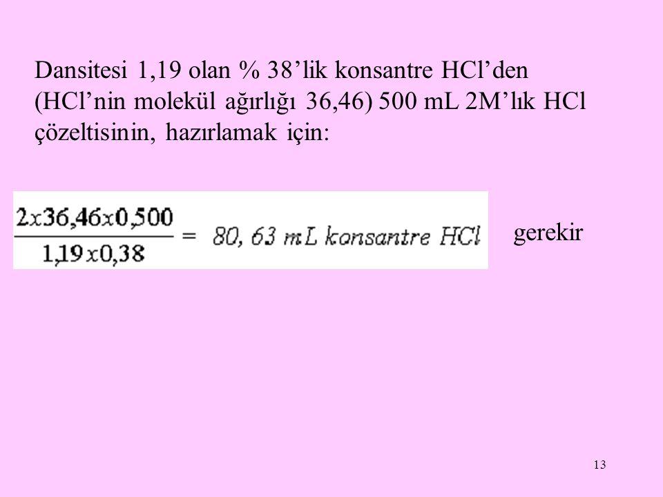 13 Dansitesi 1,19 olan % 38'lik konsantre HCl'den (HCl'nin molekül ağırlığı 36,46) 500 mL 2M'lık HCl çözeltisinin, hazırlamak için: gerekir