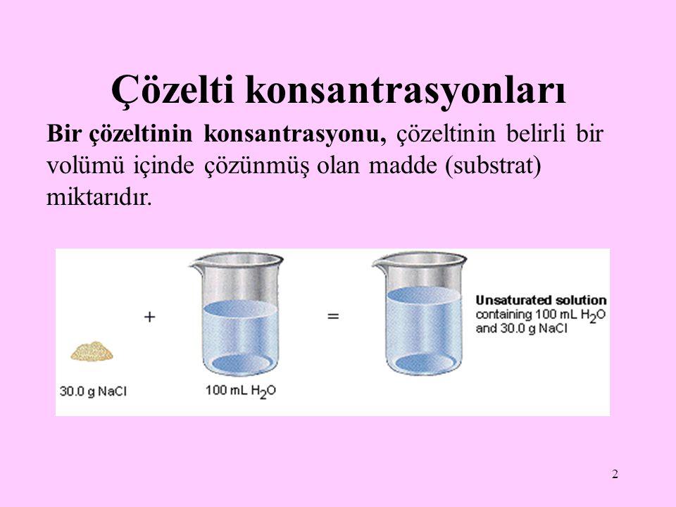 2 Çözelti konsantrasyonları Bir çözeltinin konsantrasyonu, çözeltinin belirli bir volümü içinde çözünmüş olan madde (substrat) miktarıdır.