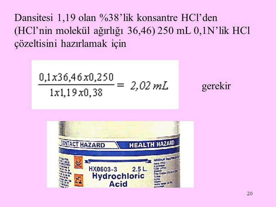 20 Dansitesi 1,19 olan %38'lik konsantre HCl'den (HCl'nin molekül ağırlığı 36,46) 250 mL 0,1N'lik HCl çözeltisini hazırlamak için gerekir
