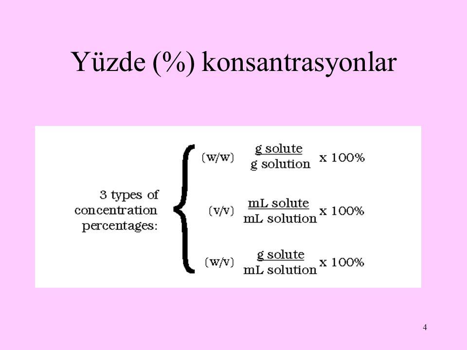 5 Çözeltinin konsantrasyonu %8w/w deyince, 8 g çözünenin 100 g çözeltide bulunduğu anlaşılır.