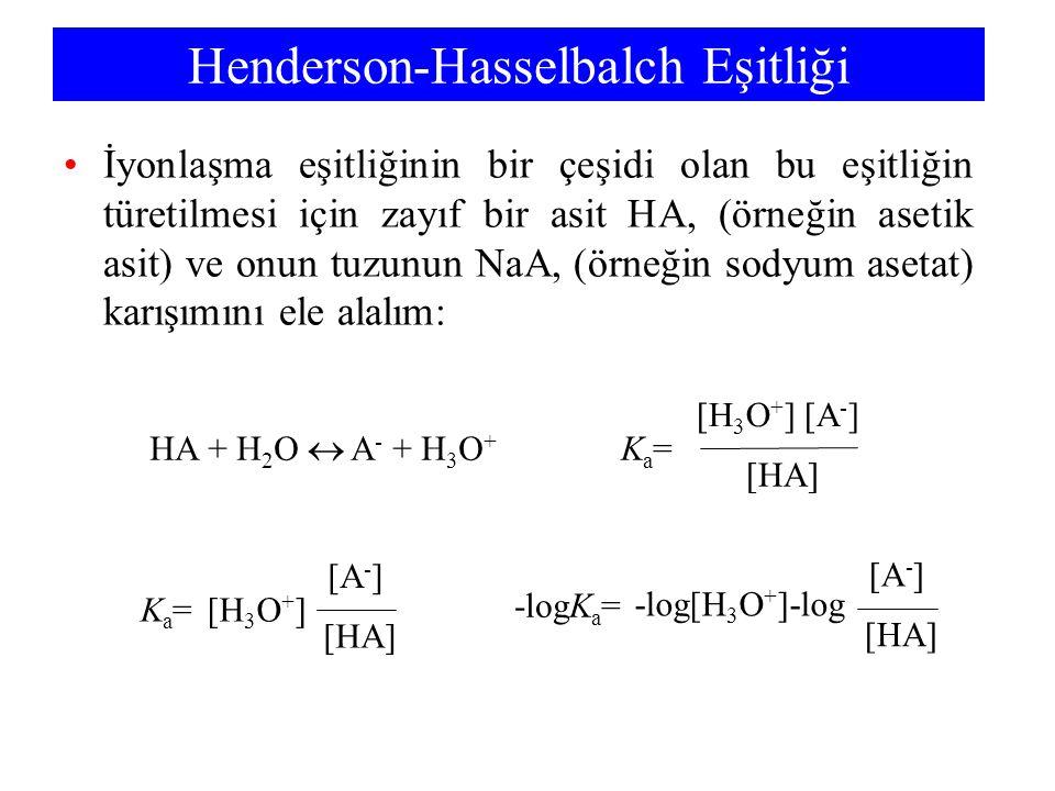 Henderson-Hasselbalch Eşitliği İyonlaşma eşitliğinin bir çeşidi olan bu eşitliğin türetilmesi için zayıf bir asit HA, (örneğin asetik asit) ve onun tu