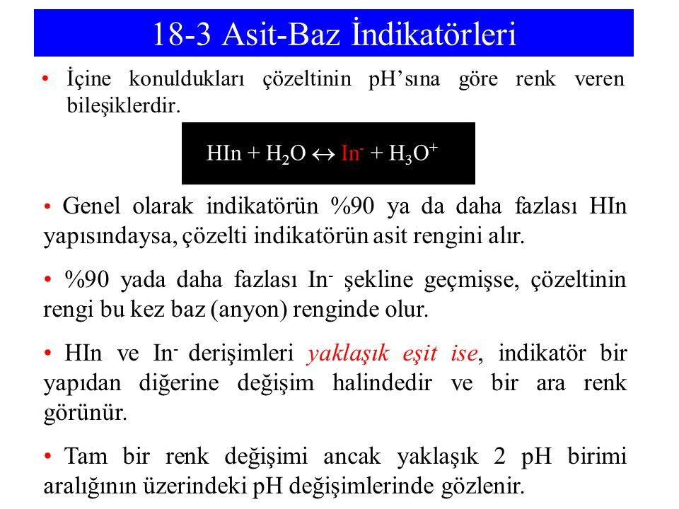 18-3 Asit-Baz İndikatörleri İçine konuldukları çözeltinin pH'sına göre renk veren bileşiklerdir. HIn + H 2 O  In - + H 3 O + Genel olarak indikatörün