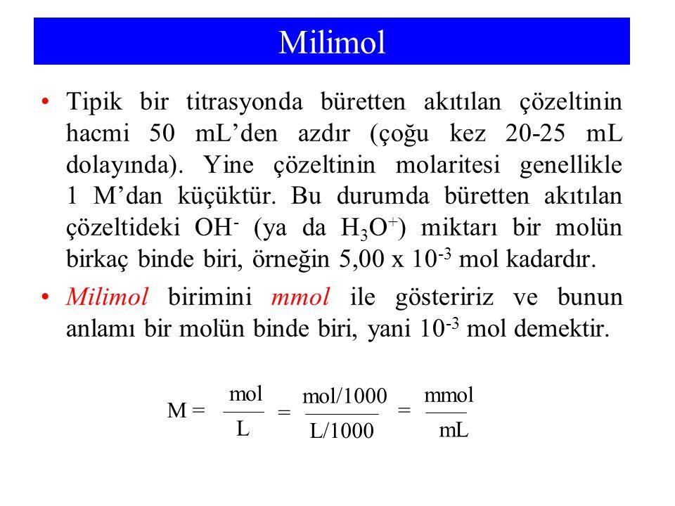 Milimol Tipik bir titrasyonda büretten akıtılan çözeltinin hacmi 50 mL'den azdır (çoğu kez 20-25 mL dolayında). Yine çözeltinin molaritesi genellikle