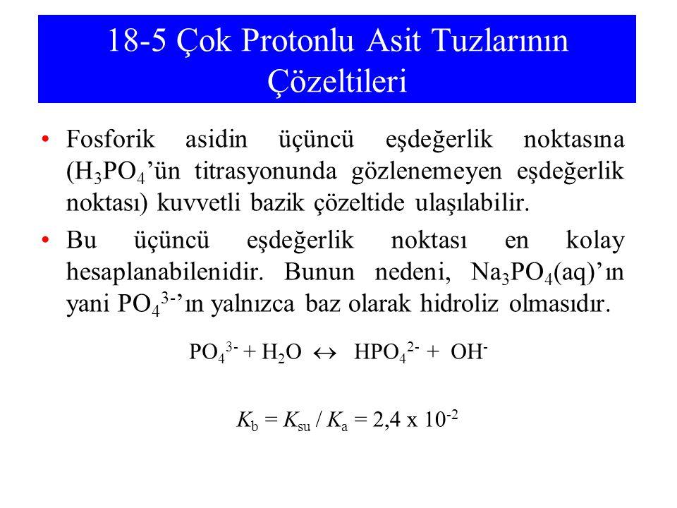 18-5 Çok Protonlu Asit Tuzlarının Çözeltileri Fosforik asidin üçüncü eşdeğerlik noktasına (H 3 PO 4 'ün titrasyonunda gözlenemeyen eşdeğerlik noktası)
