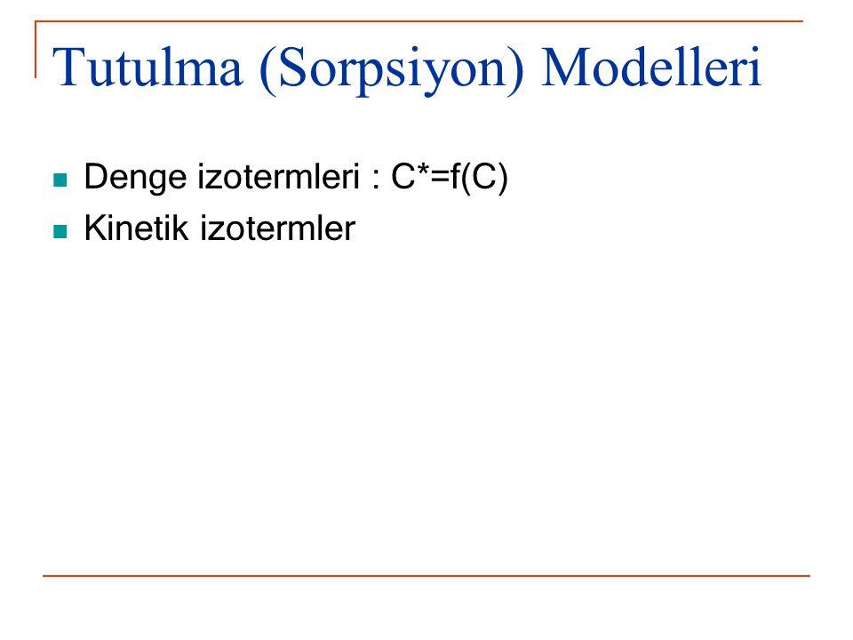 Tutulma (Sorpsiyon) Modelleri Denge izotermleri : C*=f(C) Kinetik izotermler