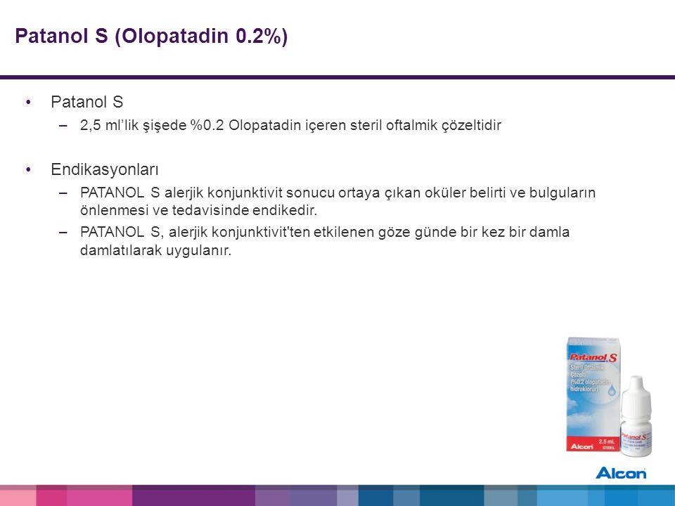 Patanol S (Olopatadin 0.2%) Patanol S –2,5 ml'lik şişede %0.2 Olopatadin içeren steril oftalmik çözeltidir Endikasyonları –PATANOL S alerjik konjunktivit sonucu ortaya çıkan oküler belirti ve bulguların önlenmesi ve tedavisinde endikedir.
