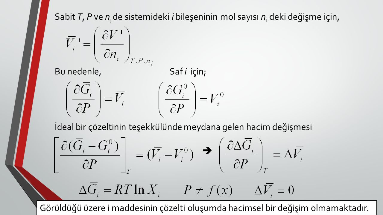 Sabit T, P ve n j de sistemideki i bileşeninin mol sayısı n i deki değişme için, Bu nedenle, Saf i için; İdeal bir çözeltinin teşekkülünde meydana gel