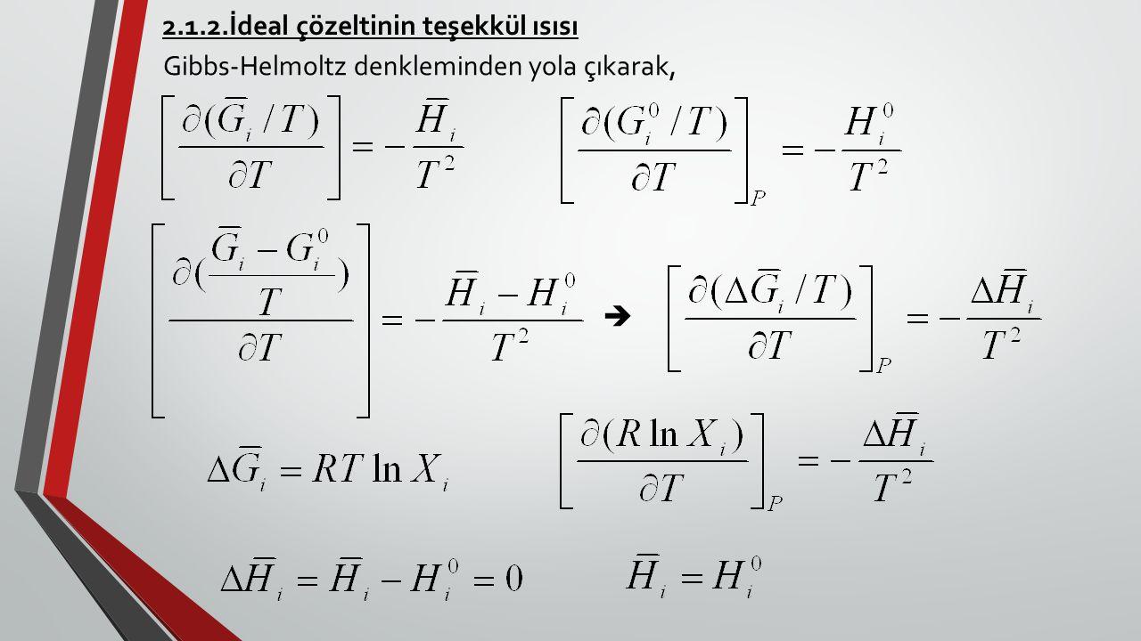 2.1.2.İdeal çözeltinin teşekkül ısısı Gibbs-Helmoltz denkleminden yola çıkarak, 