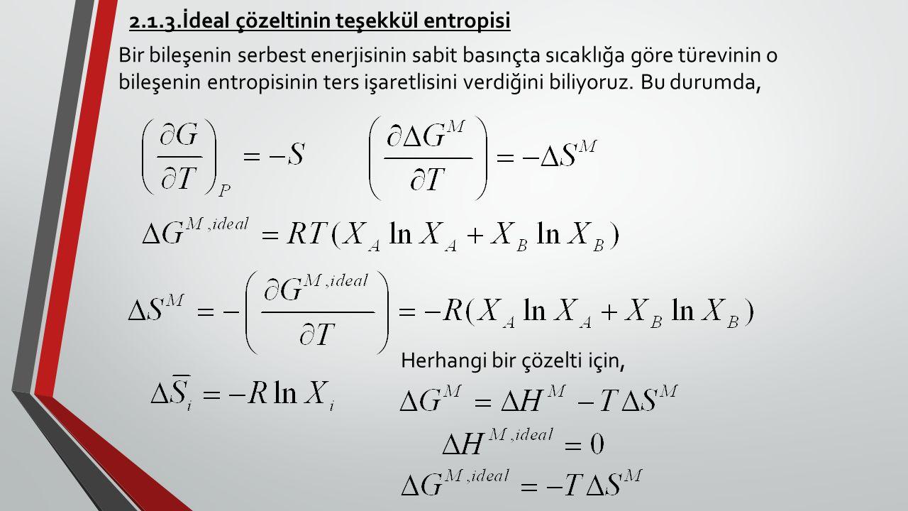 2.1.3.İdeal çözeltinin teşekkül entropisi Bir bileşenin serbest enerjisinin sabit basınçta sıcaklığa göre türevinin o bileşenin entropisinin ters işar