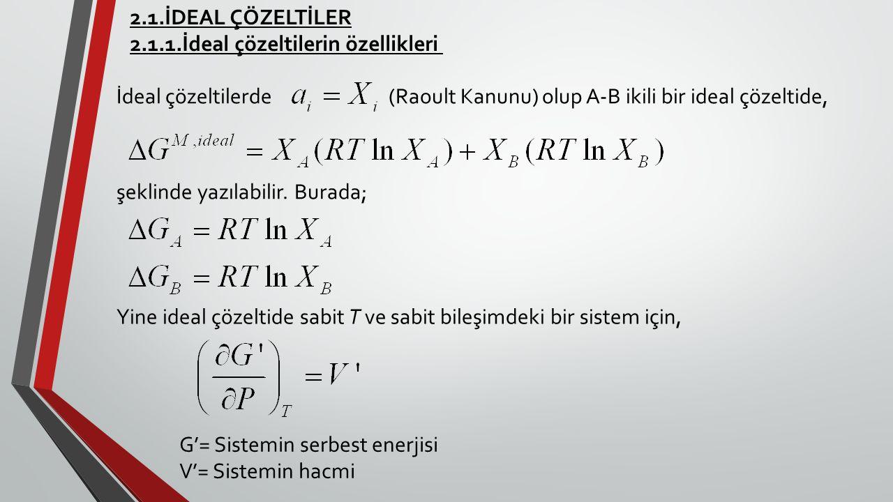 2.1.İDEAL ÇÖZELTİLER 2.1.1.İdeal çözeltilerin özellikleri İdeal çözeltilerde (Raoult Kanunu) olup A-B ikili bir ideal çözeltide, şeklinde yazılabilir.