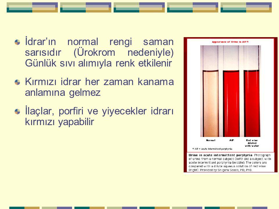 İdrar'ın normal rengi saman sarısıdır (Ürokrom nedeniyle) Günlük sıvı alımıyla renk etkilenir Kırmızı idrar her zaman kanama anlamına gelmez İlaçlar, porfiri ve yiyecekler idrarı kırmızı yapabilir