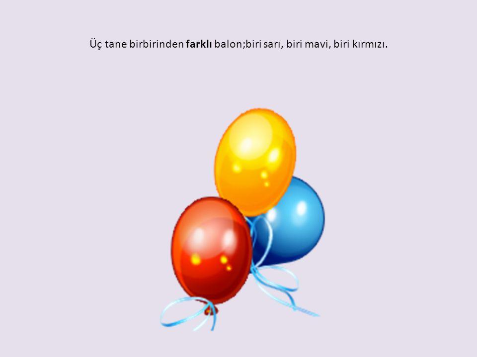 Üç tane birbirinden farklı balon;biri sarı, biri mavi, biri kırmızı.