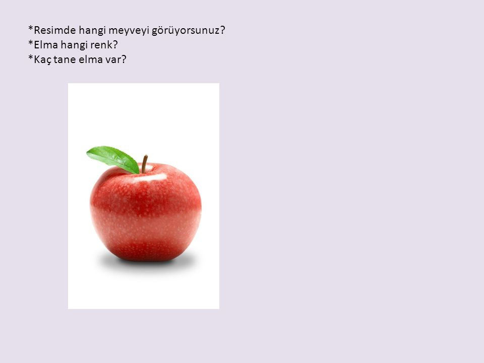 *Resimde hangi meyveyi görüyorsunuz? *Elma hangi renk? *Kaç tane elma var?