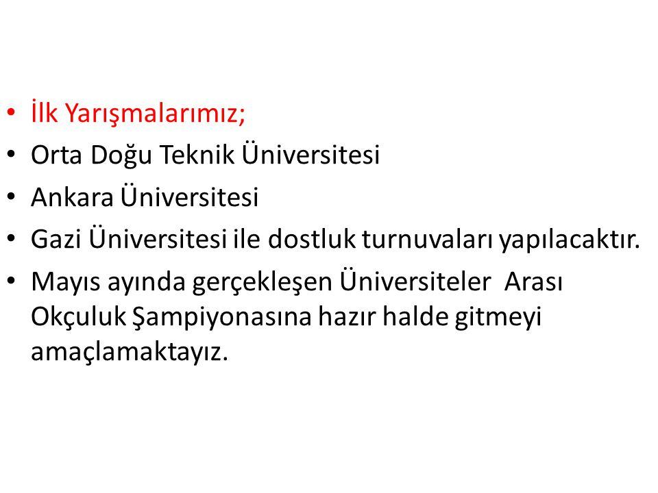 İlk Yarışmalarımız; Orta Doğu Teknik Üniversitesi Ankara Üniversitesi Gazi Üniversitesi ile dostluk turnuvaları yapılacaktır. Mayıs ayında gerçekleşen