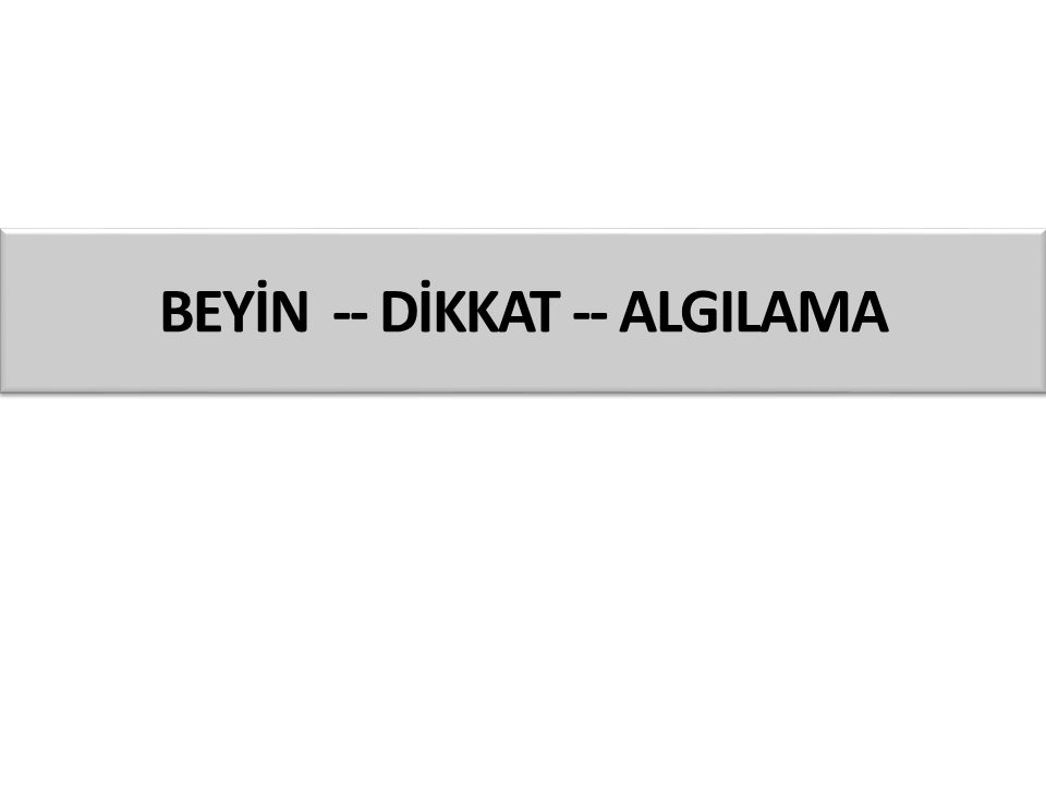 BEYİN -- DİKKAT -- ALGILAMA